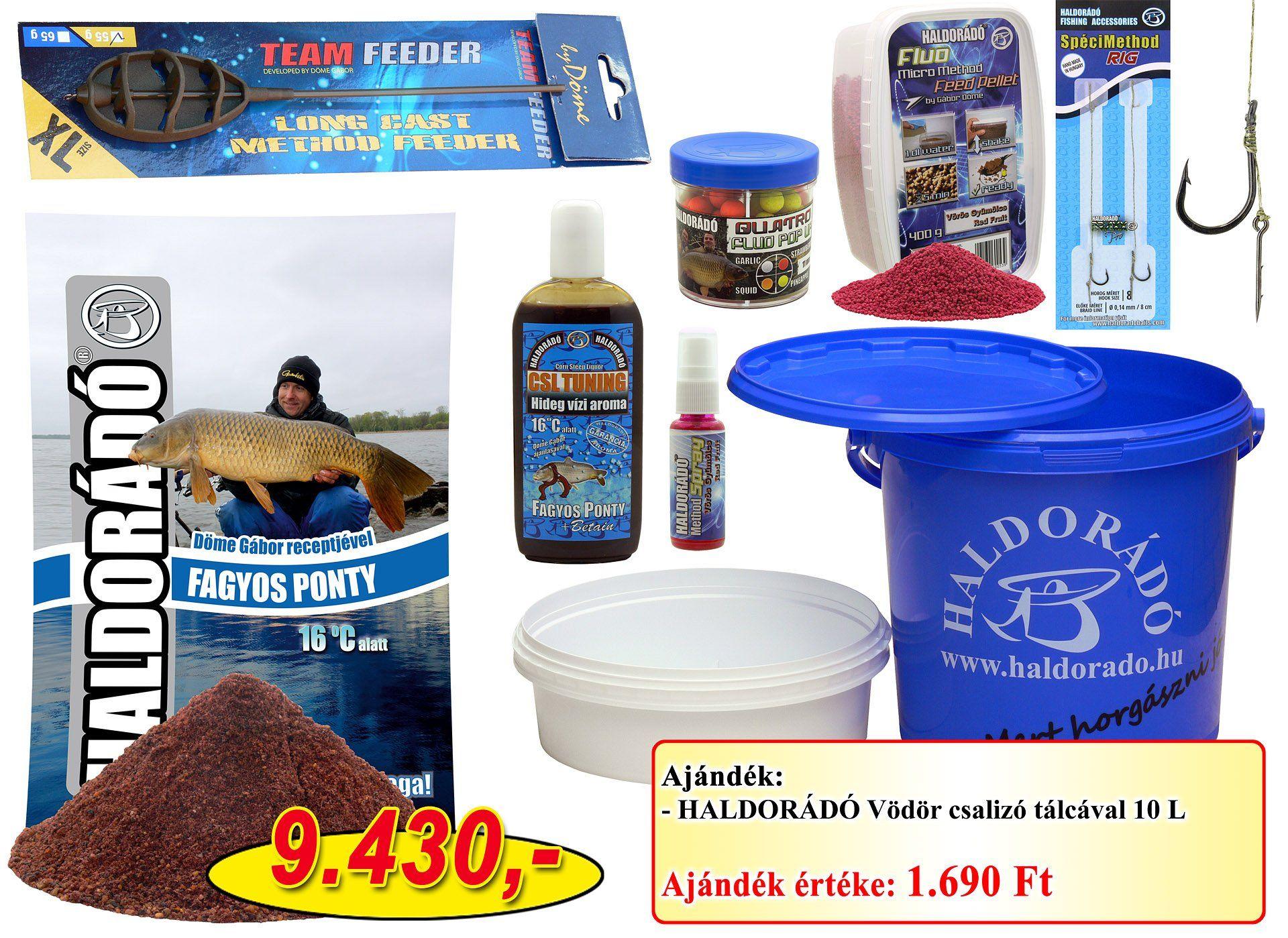 A Haldorádó Téli távdobó method csomag + ajándék vödör szett, amely a nevéhez hűen olyan termékekből áll, amik a hideg vízi távdobó pontyhorgászatok során növelhetik eredményességünket!
