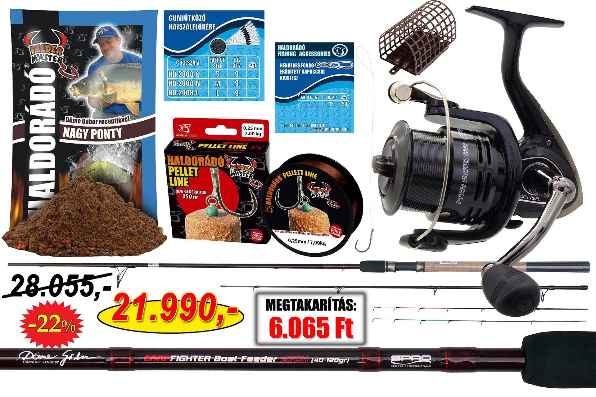 Komplett felszerelés, a csónakos feeder horgászat igényeihez optimalizálva