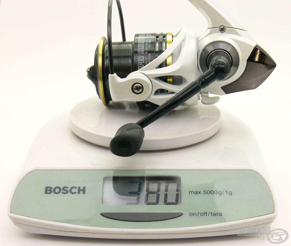 A legnagyobb, 50-es méretű orsó is mindössze 380 grammot nyom