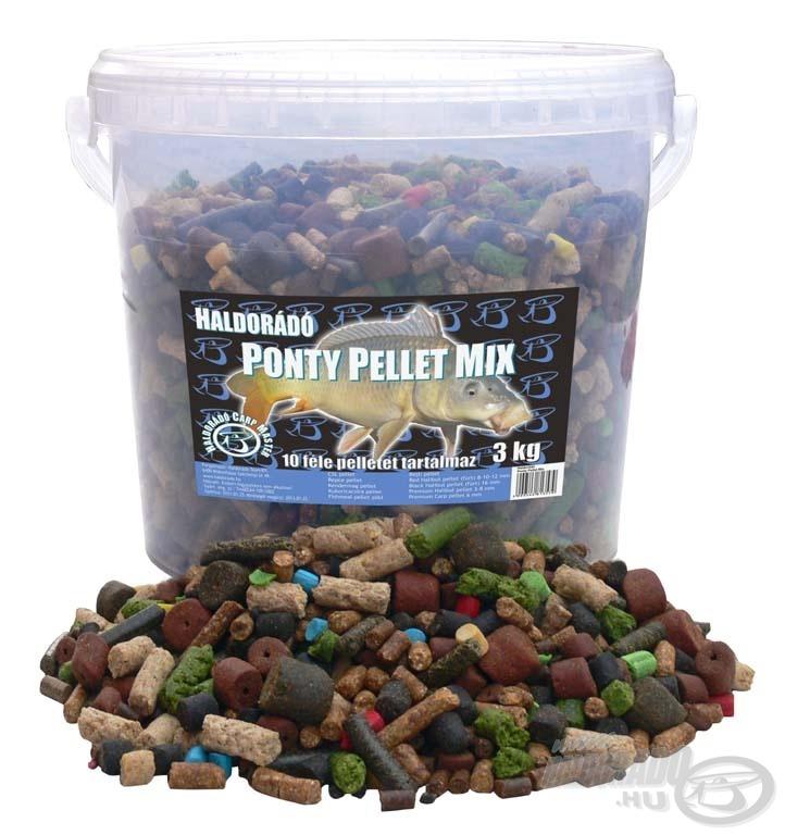 10 különböző fajta pelletet tettünk egy műanyag vödörbe. A 3 kg etető pellet (amelyben vannak csalizó falatok is) így még kedvezőbb áron kerülhet forgalomba