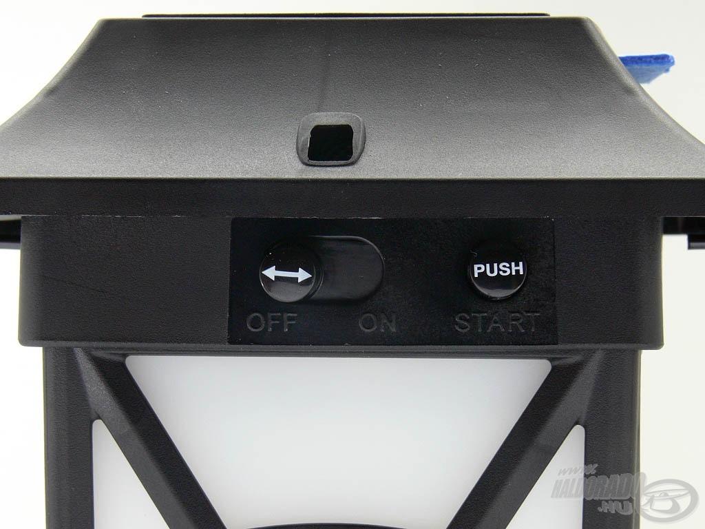 """A szúnyogriasztó bekapcsolásához tolja a gombot """"ON"""" állásba, majd nyomja meg a """"PUSH"""" gombot"""