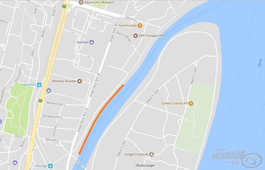 """A térképen jelzett partszakaszon lesz kijelölve a pálya, amelynek megközelítése a """"K"""" híd felől a legegyszerűbb"""