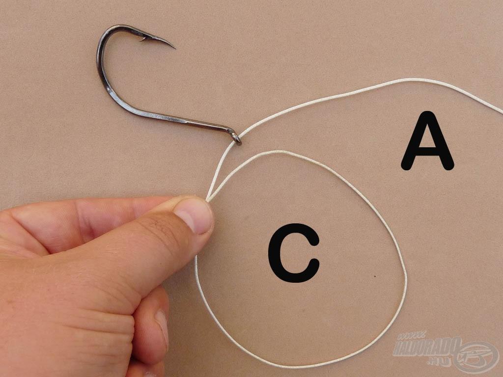 """Fogjuk meg a """"B"""" szálvégen lévő """"C"""" hurok metszéspontját"""