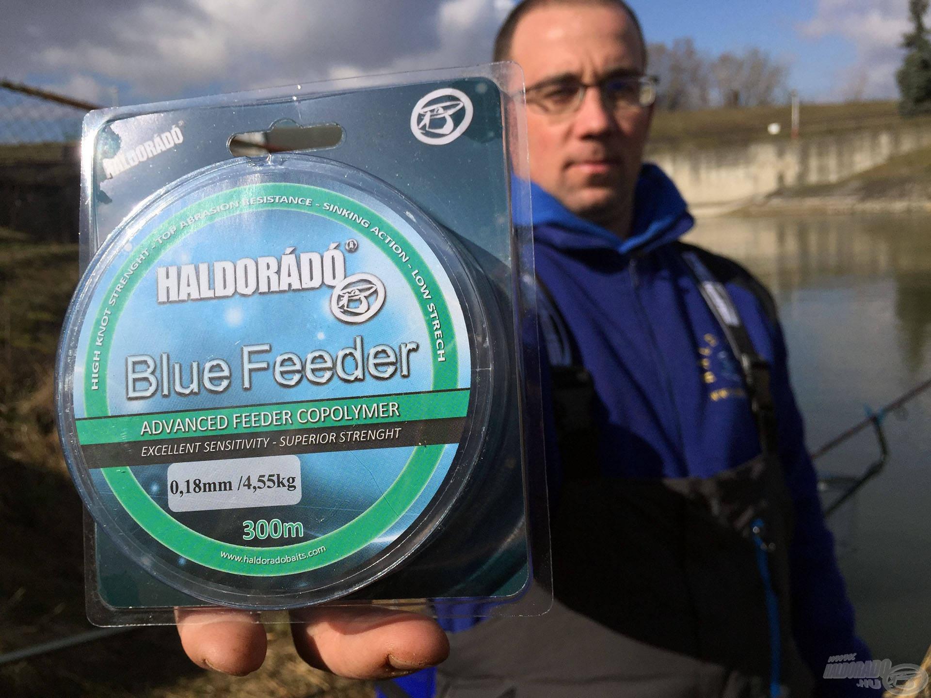 Az orsó dobjára a Haldorádó Blue Feeder főzsinór került