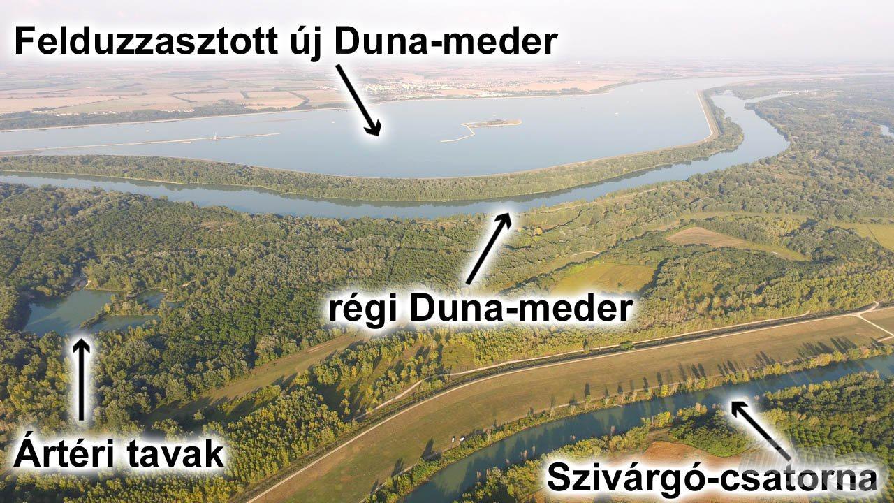 A nagy szlovákiai víztározó a felduzzasztott Dunával és új mederrel, alatta a Duna régi ága, legalul a Szivárgó-csatorna, ahol mi horgásztunk