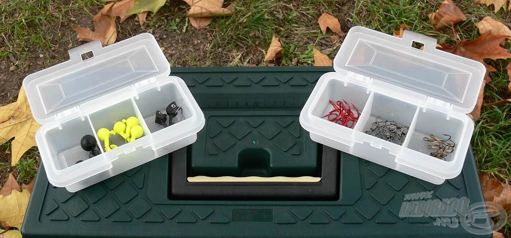 A két kicsi dobozban a twisterfejek, horgok, forgók és egyéb apróságok kaphatnak helyet